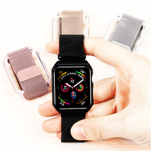 case&milanese loop strap for apple watch band 4 44mm 42mm bracelet stainless steel watchband for iwatch series 4/3/2/1 40mm 38mm все цены