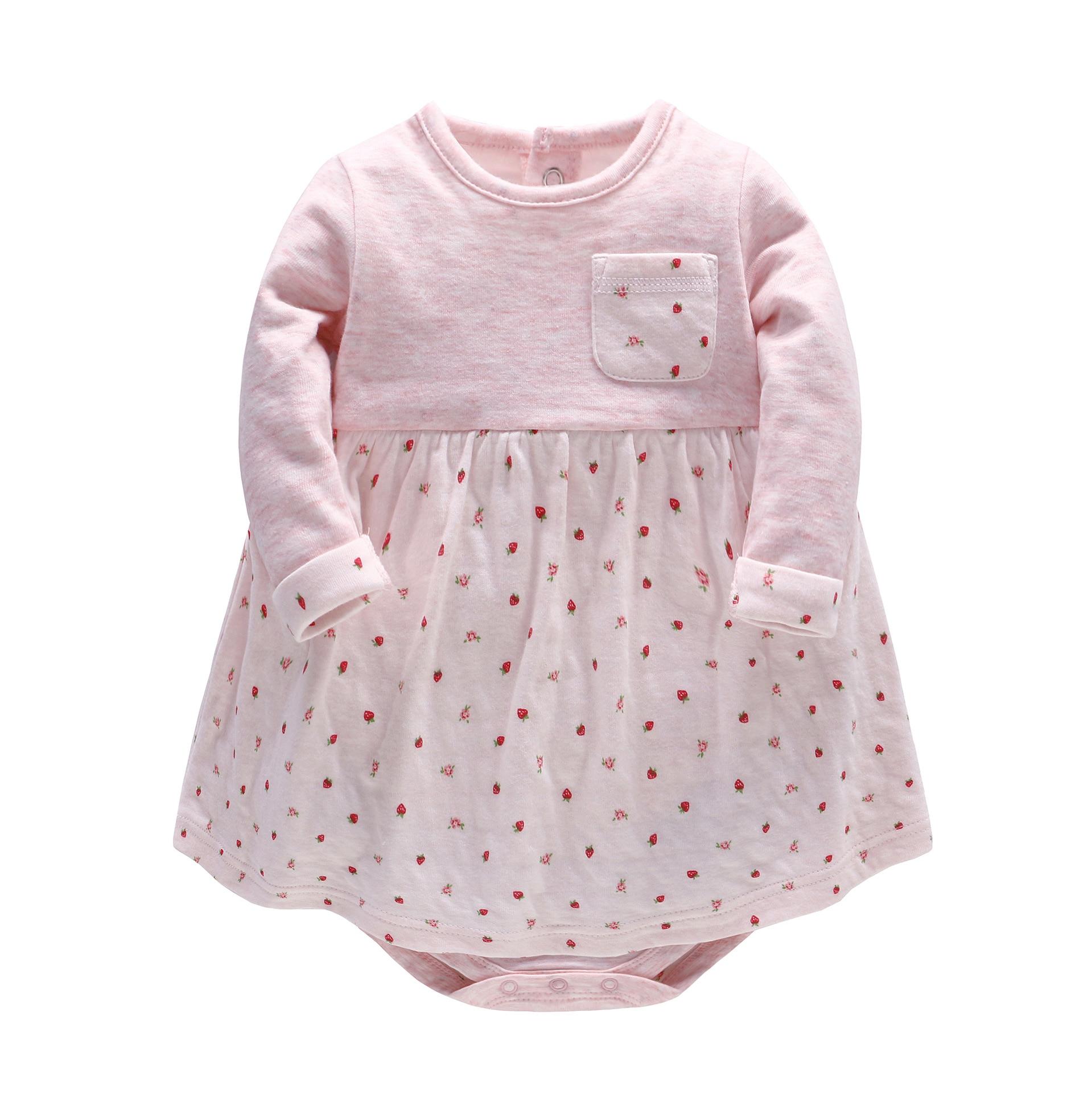 2018 New Fashion Baby Girl Dress Baby Spring Autumn Long-sleeve Strawberry Flower Printed Dress Infants Cotton Birthday Dresses