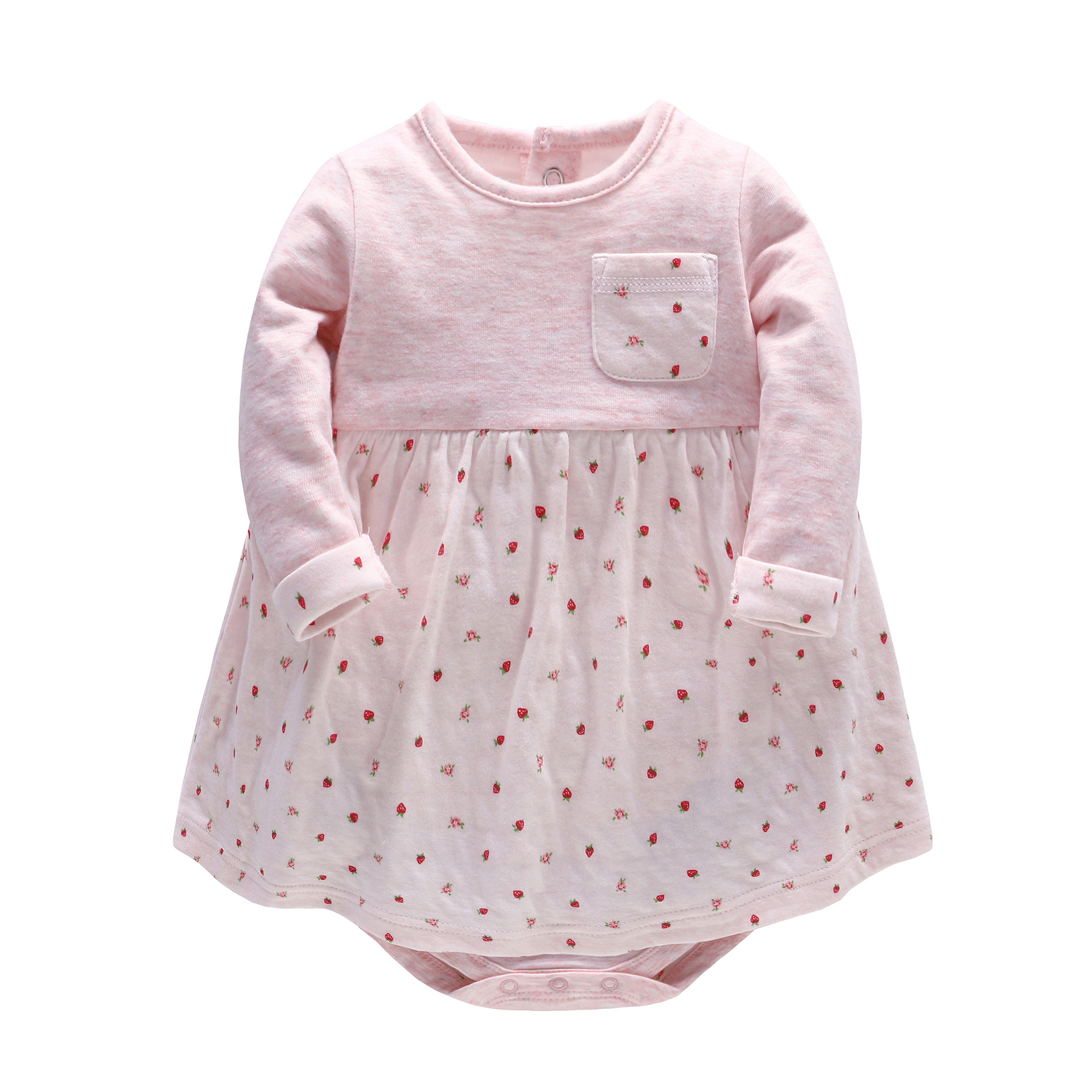 2017 New Fashion Baby Girl Dress Baby Spring Autumn Long Sleeve Strawberry Flower Printed Dress Infants