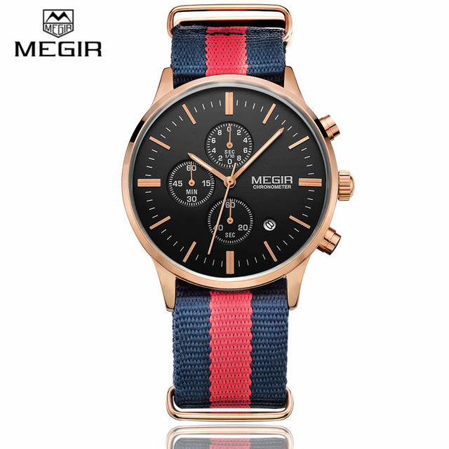 92147e3404f1 Megir 6 mano lienzo impermeable analógico reloj para hombre marca de lujo  fecha de cuarzo casual