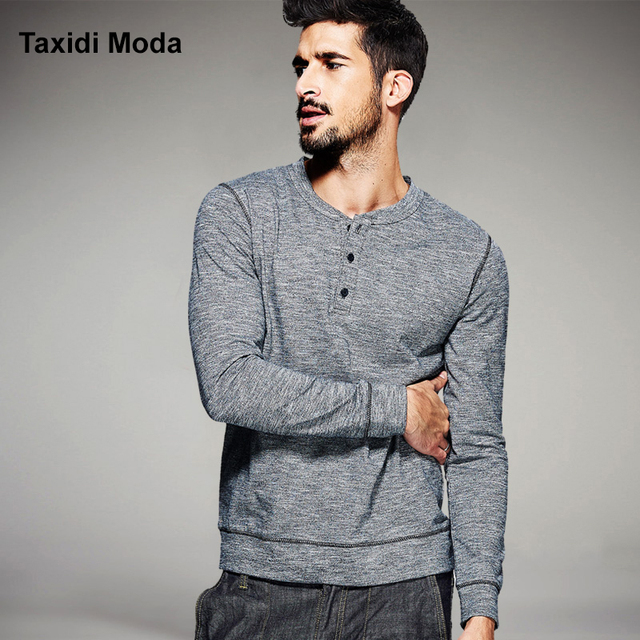 2017 Spring Mens Casual T Shirts 100% Cotton Gray Button Brand Clothing Long Sleeve Man's Wear Slim T-Shirts Tops Tees Plus Size