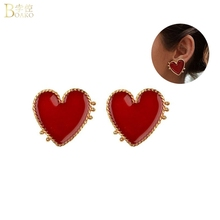 BOAKO Big Red Love Heart Stud Earrings Women Girl Street Style Fashion Party Jewelry Freach Romantic Gift boucle doreille Z5