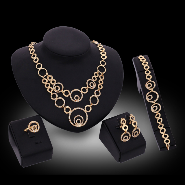 c6e8d02a99 US $9.65 |2016 Korean Style Gold color Jewelry Set Multiple Round Necklace  Rhinestone Earrings Trendy Bracelet Wedding Bridal Bijoux-in Bridal Jewelry  ...