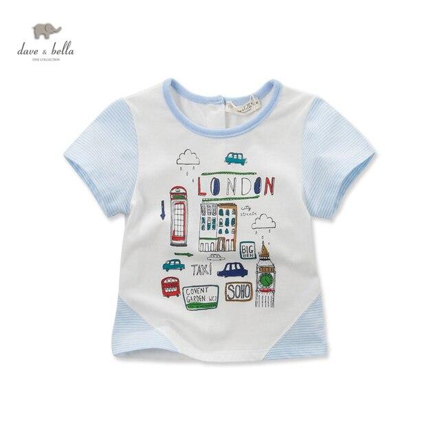 DB3050 дэйв белла лето baby boy автомобилей отпечатано мультфильм хлопка майка детская одежда ковылять тройники мальчики топы дети футболку