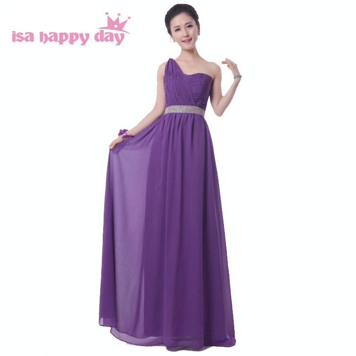 2017 vestidos Deep Purple dama de honor novia de un hombro longitud ...