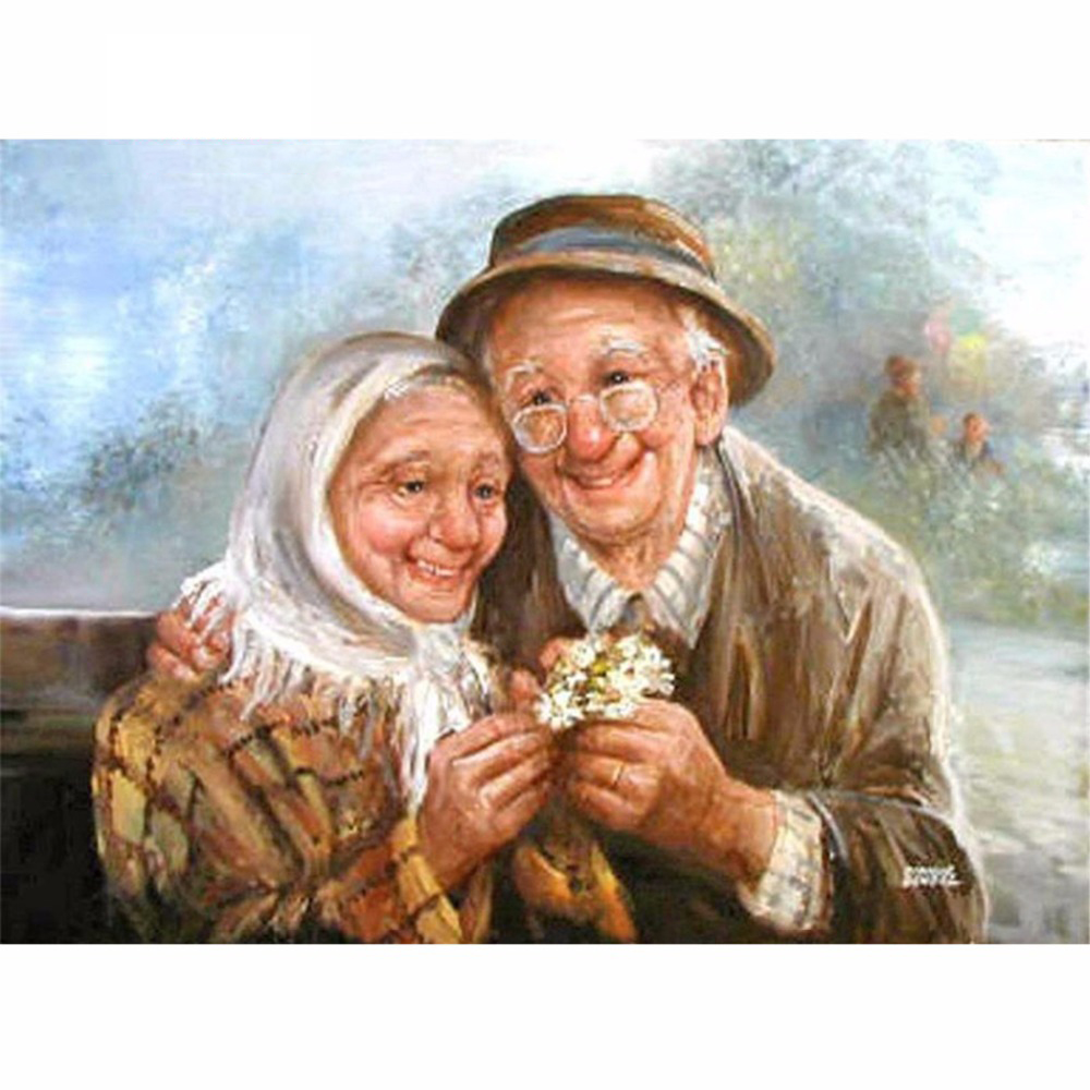 5D DIY Full Drill Diamond Painting Older Couples Cross Stitch Mosaic Kit