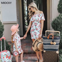 Mom and Daughter Dress Off Shoulder Ruffles Floral Mini Vestido mae e filha Matching Outfits Clothes E032