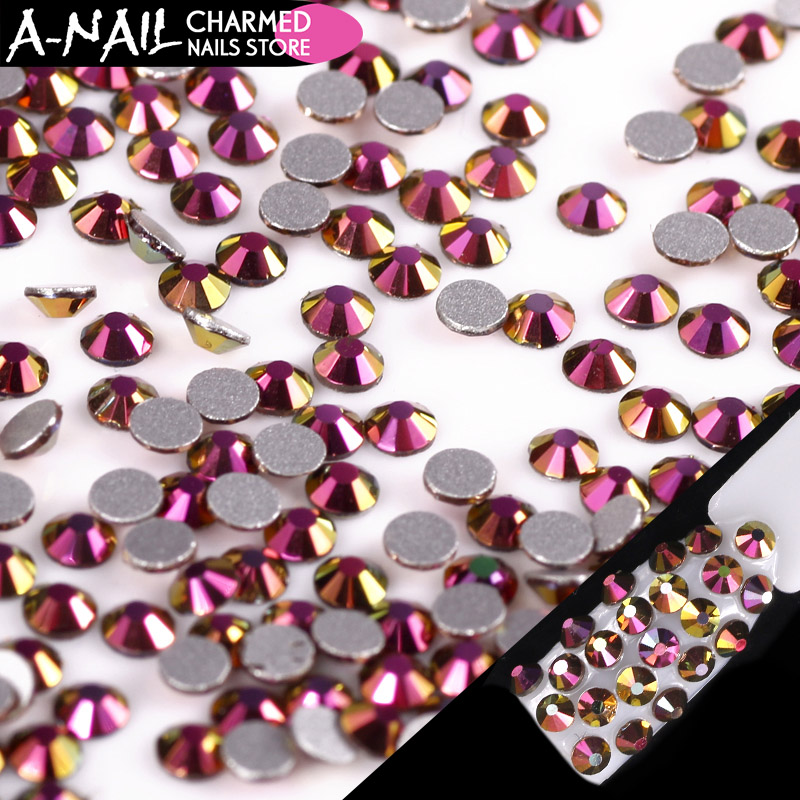 1440 pcs/pack Rose Gold Flame Flatback Nail Rhinestone 3D Spangle Glass Crystal Rainbow Stone Nail Art Decoration Manicure Tools