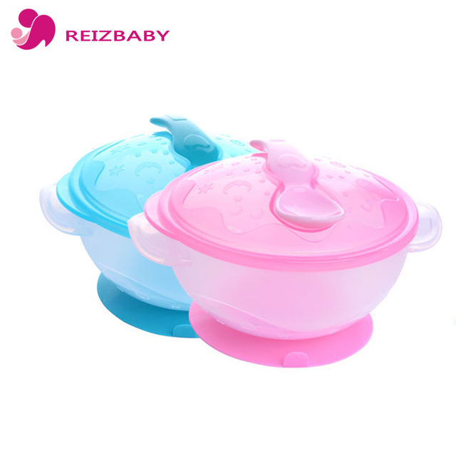 REIZBABY Children Dish Baby Bowl Non Spill Suction Handles Spoon Kids Food Self Feeding Children Dinnerware Tableware Set