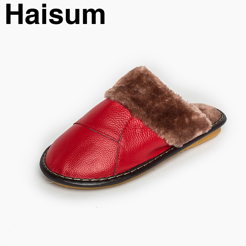 Ladies Slippers Winter genuine Leather Thick With Plush Home Indoor Non-slip Thermal Slippers 2018 New Hot Sale Haisum H-8004 men s slippers winter pu leather home indoor non slip thermal slippers 2018 new hot haisum h 8007