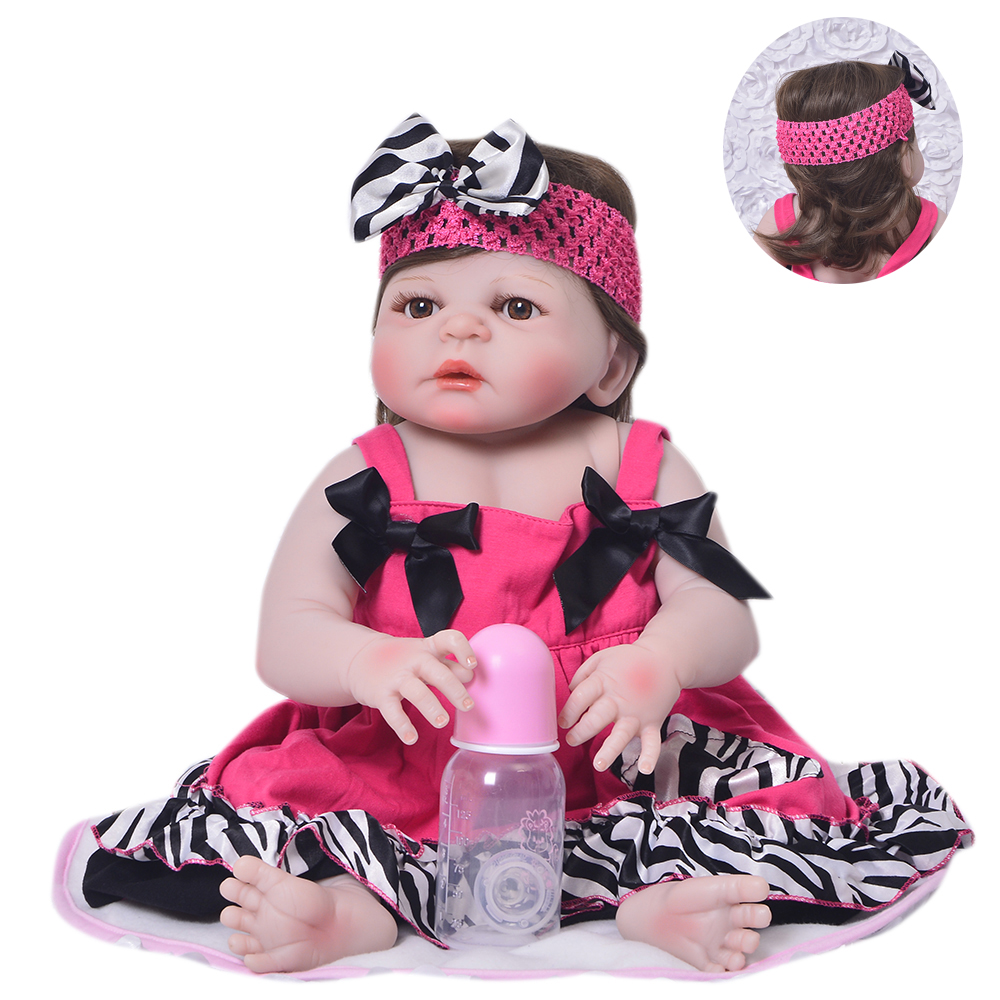 KEIUMI 23'' Babies Girl Reborn Baby Doll Full Body Silicone Vinyl Realistic 57 cm Princess New Born Boneca Reborn Boneca Gifts real like 57 cm sleeping boneca reborn lifelike full body silicone vinyl reborn dolls babies princess baby doll toy for gifts