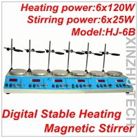 HJ 6B цифровой стабильной нагрева магнитной мешалкой мульти в одном магнитной мешалкой отопления конфорками Термостатические 6 головок нагр
