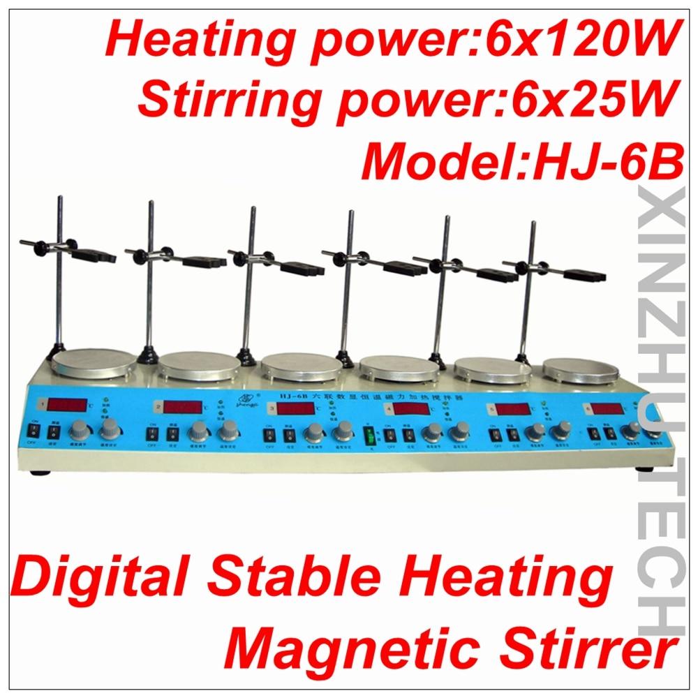 HJ 6B Digital Stable Heating Magnetic Stirrer Multi in one Magnetic Heating Stirrer Hotplate Thermostatic 6 heads heater|digital thermostat heater|digital heater|heater thermostat - title=