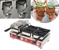 Free shipping cost Electric 110v 220v New design 4 pcs Taiyaki waffle Machine Fish Cone Maker