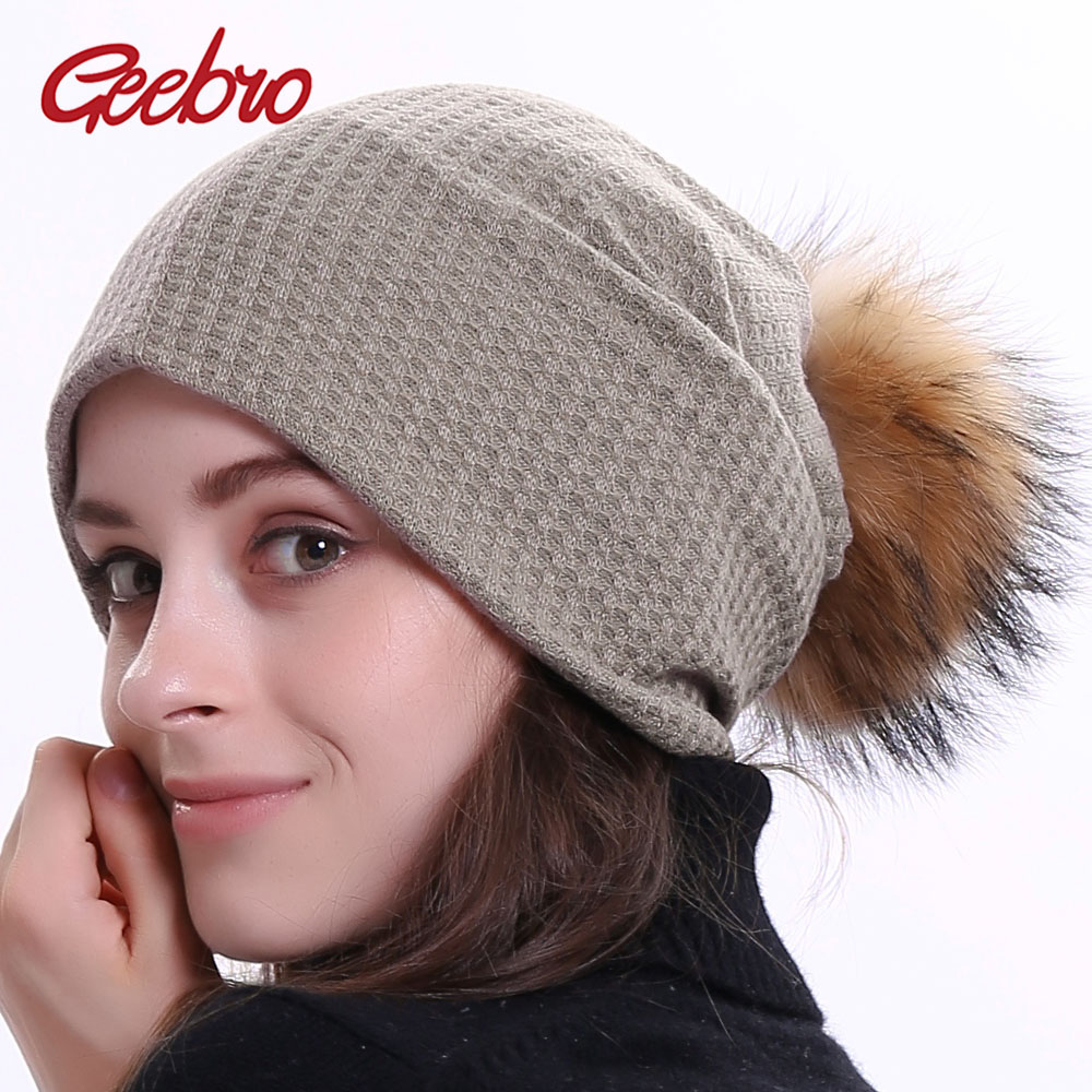 Geebro Winter Women's Ribbed   Beanies   Casual Cotton Plain Color Slouchy   Beanie   For Women Ladies   Skullies     Beanie   Bonnet Cap DQ429N