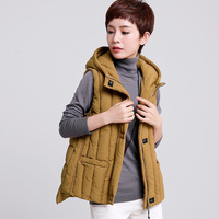 Quilted vest women winter casual warm thickening hooded vests winter jacket women plus size M 4XL 2017 new