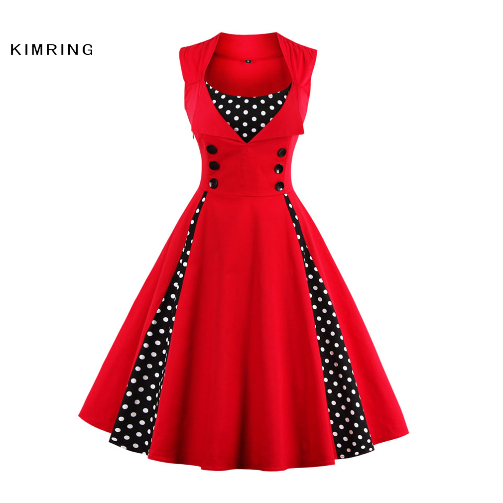 Buy Cheap Kimring Women Summer Dresses Fashion Dress Plus Size Rockabilly Patchwork Dress Swing Christmas Party Dress Casual Vestidos