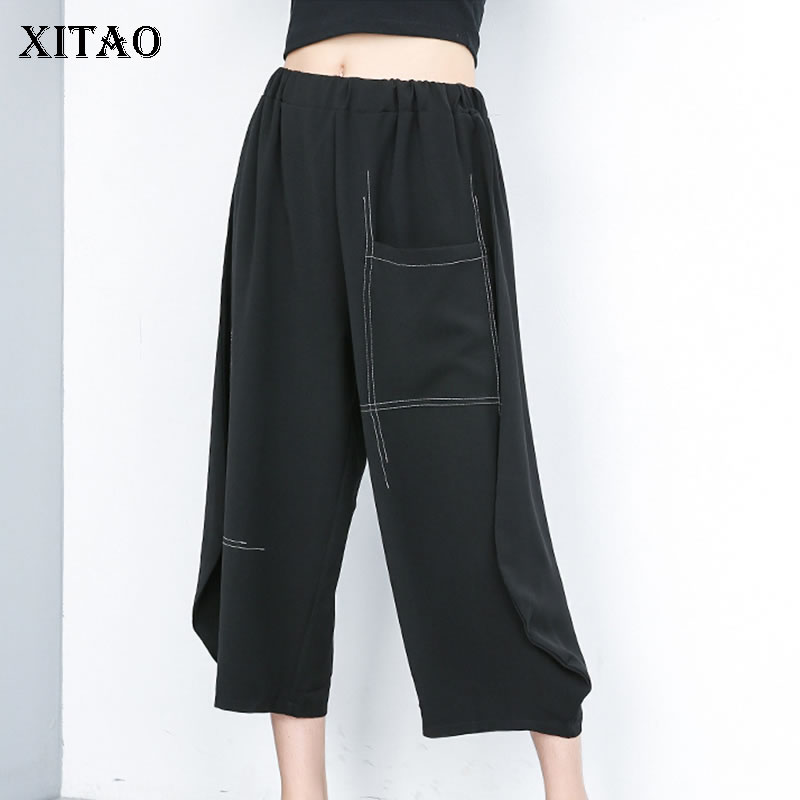 [XITAO] Women 2019 Summer Fashion Flat Casual   Wide     Leg     Pants   Female Solid Color Elastic Waist Loose Ankle-length   Pants   ZQ1433