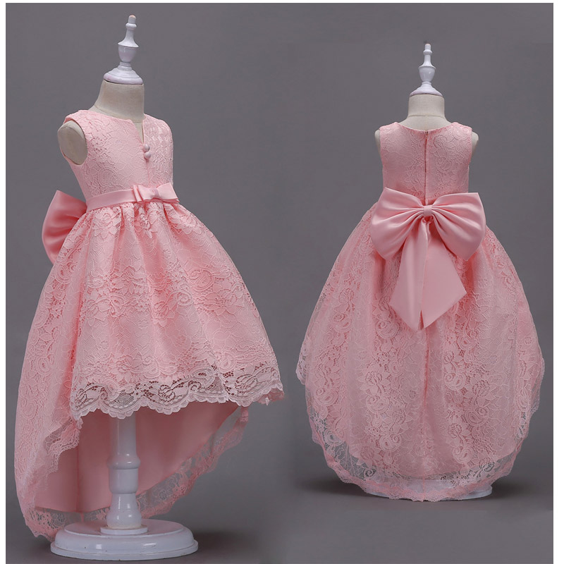 Girls Tailing Lace Dresses Big Bow Princess Vestidos Costumes Fever Wedding Birthday Tail Party Frocks For 4 6 8 10 12 14 Years girls tulle tailing embroidery lace bow dress for wedding birthday party manual nail bead frocks costumes size 4 6 8 10 12 years
