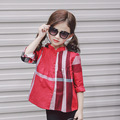 Girls blouse Kids blouse Girls shirts Plaid clothing Cotton Frill collar Long sleeve Children clothes Casual shirts 2-8y Red