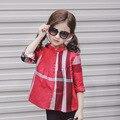 Meninas blusa crianças blusa meninas camisas xadrez babado gola de algodão de manga longa crianças roupas camisas casual clothing 2-8a vermelho