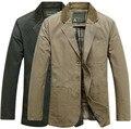 2015 Nuevos hombres marca casual chaqueta blazer de algodón puro hombre capa del juego del resorte masculino blazers chaquetas abrigos tallas grandes L-XXXXL