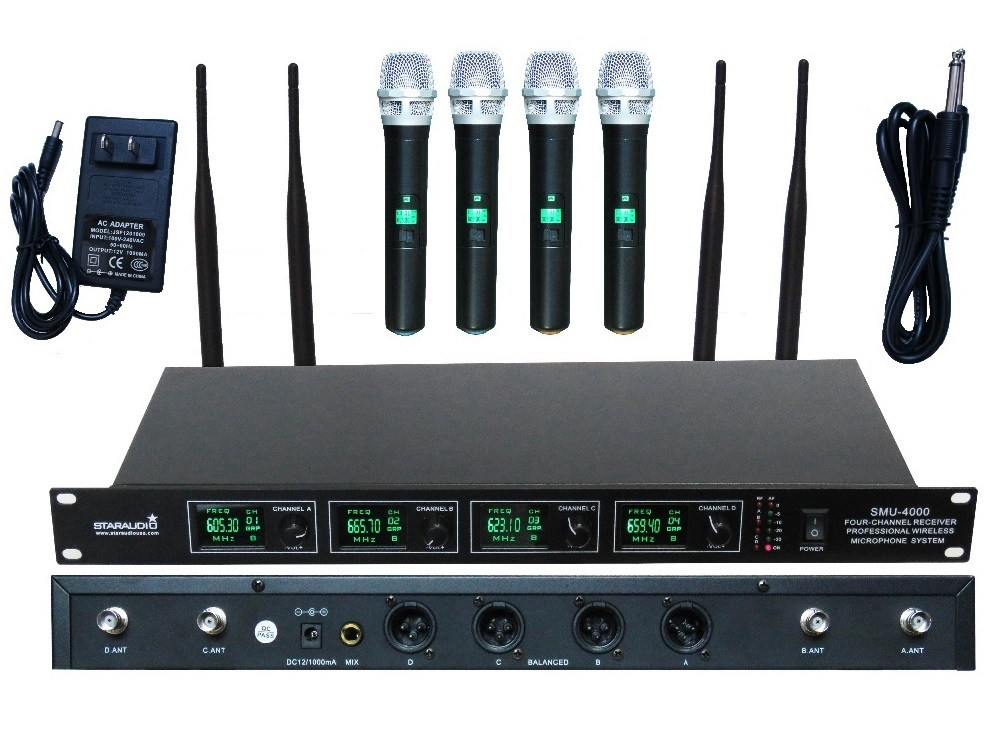 STARAUDIO 4 Channel Pro UHF Diversity Wireless Handheld Microphone Mic System SMU-4000A 4 x 100 channel ture true diversity whole metal cordless microphone system uhf wireless stage microphone system 4 mic