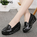 LIN KING Fashion Women Swing Shoes Low Top Slip On Slimming Platform Shoes PU Letters Print Height Increasing Nurse Shoes