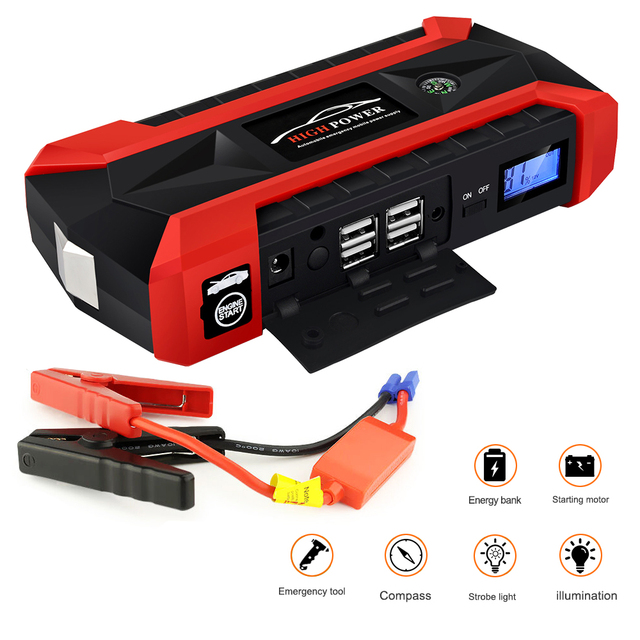 Multifunction Jump Starter 89800mAh 12V 4USB 600A Portable Car Battery Charger Emergency Starting Power Bank Tool Kit