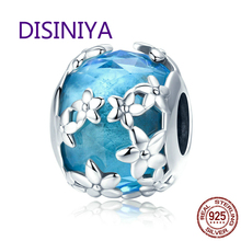 DISINIYA  100% 925 Sterling Silver Daisies Daisy Flower Blue CZ Crystal Beads Charm fit Bracelet DIY Jewelry Making SCC878