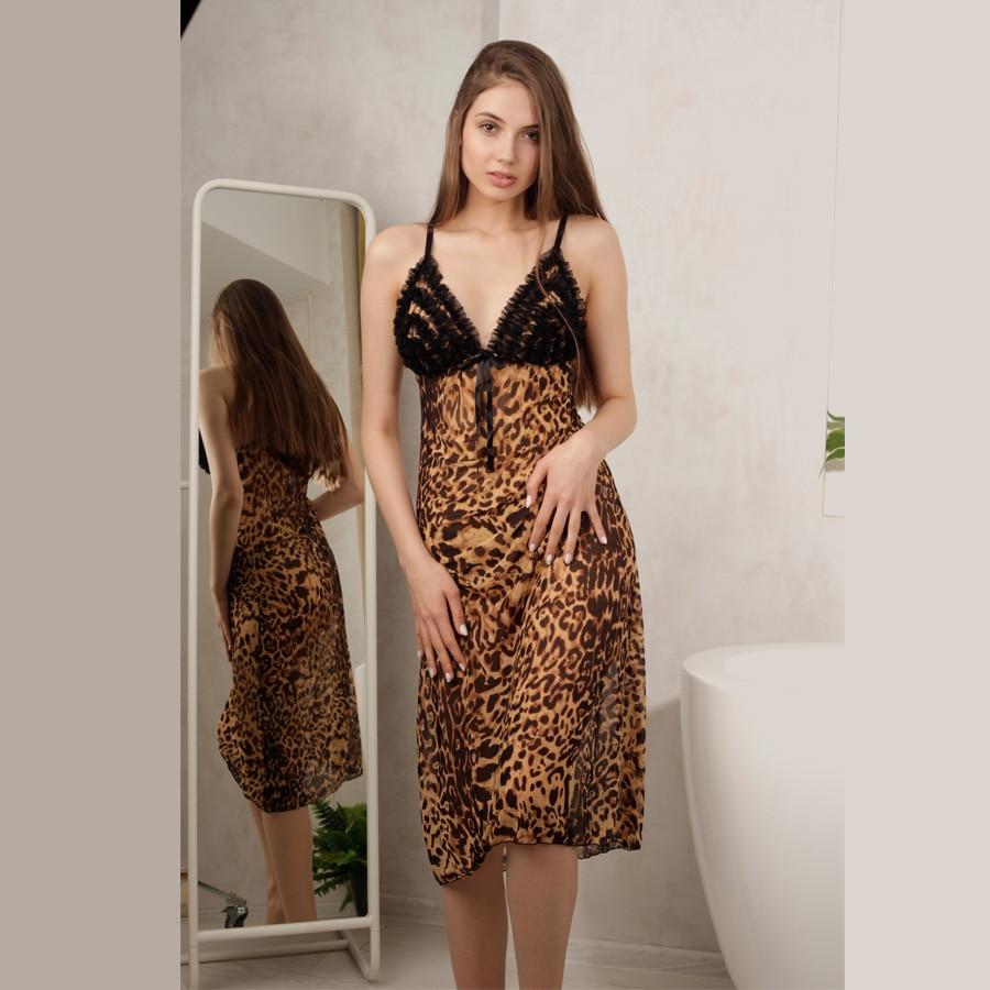 Sexy Leopard Sleepwear Mesh Nightgown Lace Trim Sleepshirts V Neck Nightdress Comfortable Nightgown Lace Pijamas for women