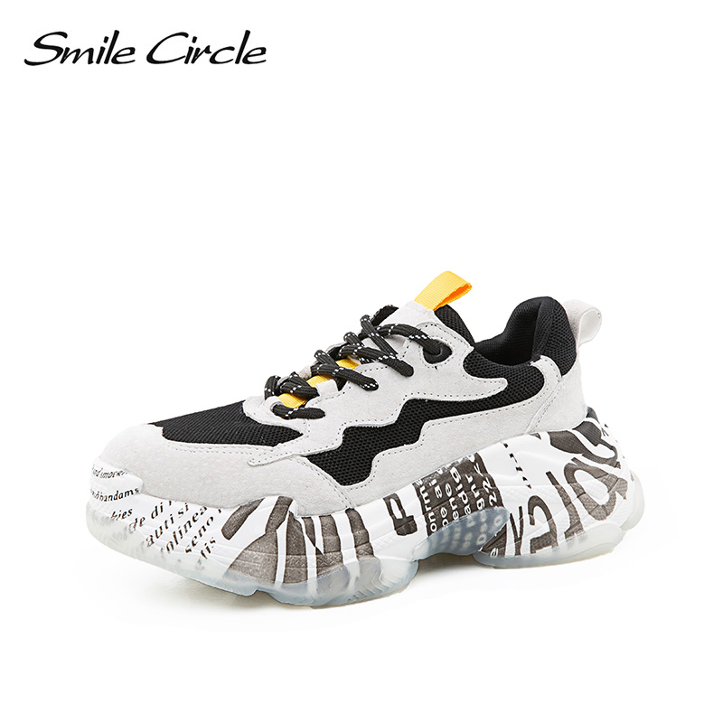 Smile Circle Women Chunky Sneaker Breathable Mesh Lace-up Thick bottom Flat Platform Shoes For Women Autumn Round toe Sneakers smile circle women chunky sneaker breathable mesh lace up thick bottom flat platform shoes for women autumn round toe sneakers