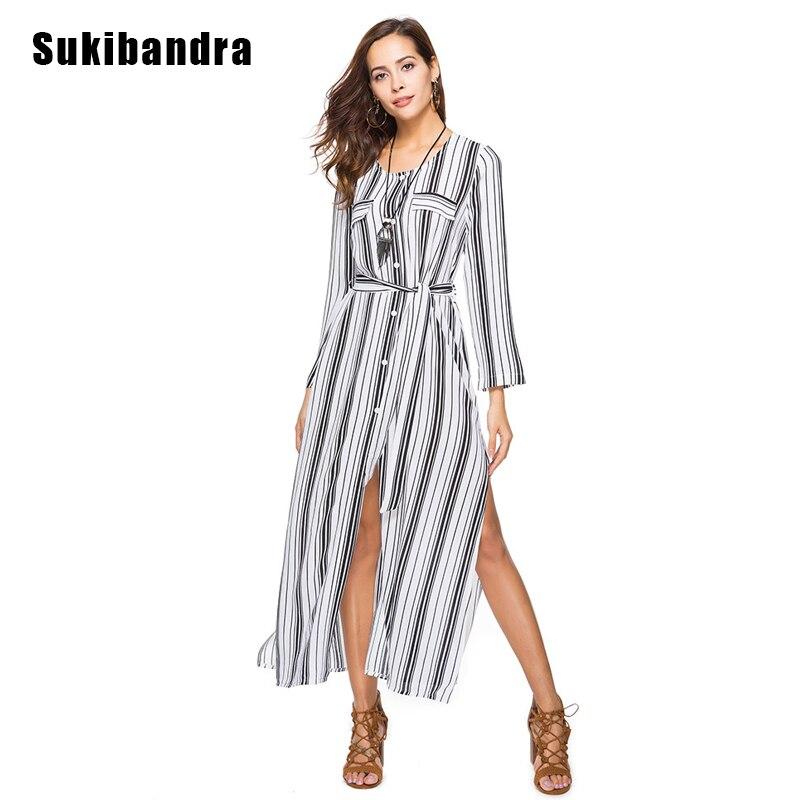 179f8f5f38d Sukibandra 2018 Summer Long Sleeve Print Vertical Striped Dress Women Maxi  Long Chiffon Shirt Dress Casual Button Split Dress