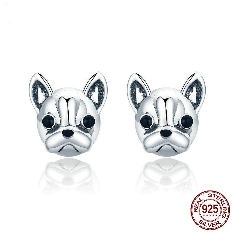 925 Sterling Silber Loyal Partner Französisch Bulldog Hund Tier Kleine Ohrstecker Für Frauen S925 Silber Ohrringe Schmuck 283 Reich Und PräChtig