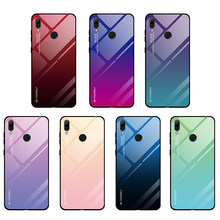Colors Tempered Glass Case For Huawei Y9 Y7 Y6 Prime 2018 Luxury Hard PC Protective Back Cover For Huawei Y5 Prime Y6 Y7 2019(China)