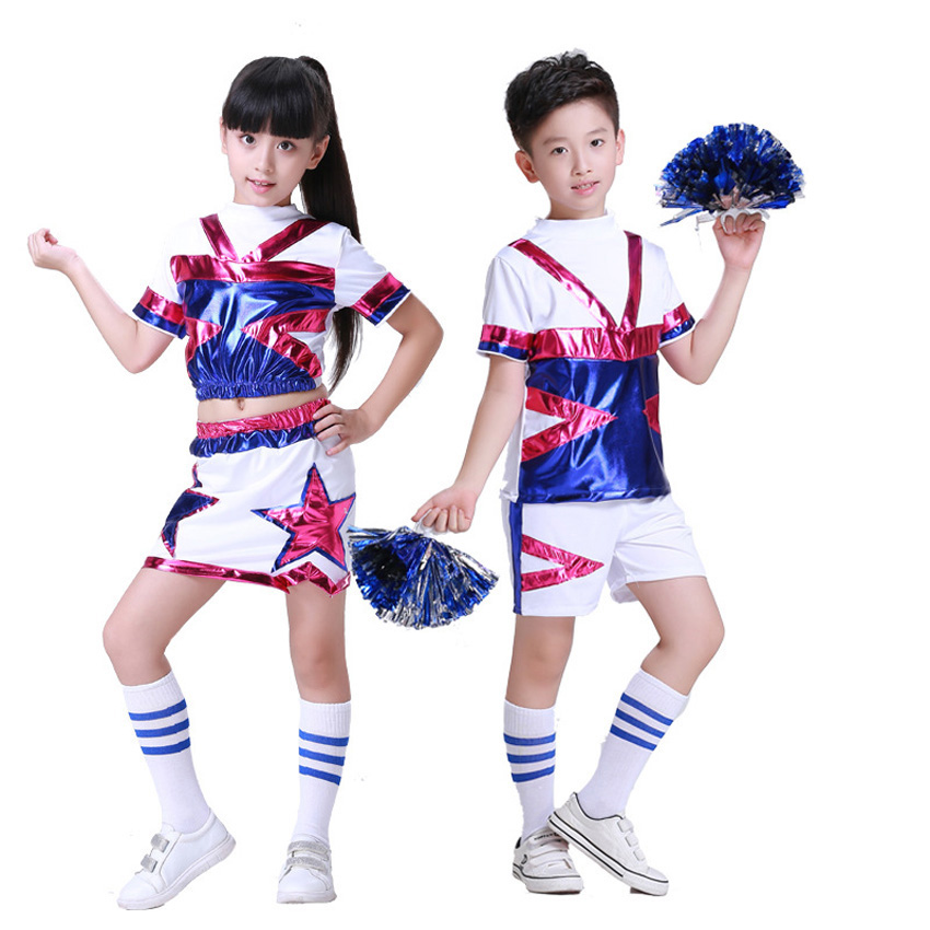 Team Wear Performance Stage Dance Costumes for Kids Girls School Uniform Sequin Football Boys Cheerleader Clothing Set