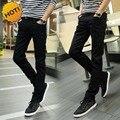 Мода 2016 Крытый Случайные Узкие Джинсы Мужчины Черные Подростки Карандаш Брюки Стрейч Случайные Брюки Ноги Мальчиков Хип-Хоп Студенческие Брюки