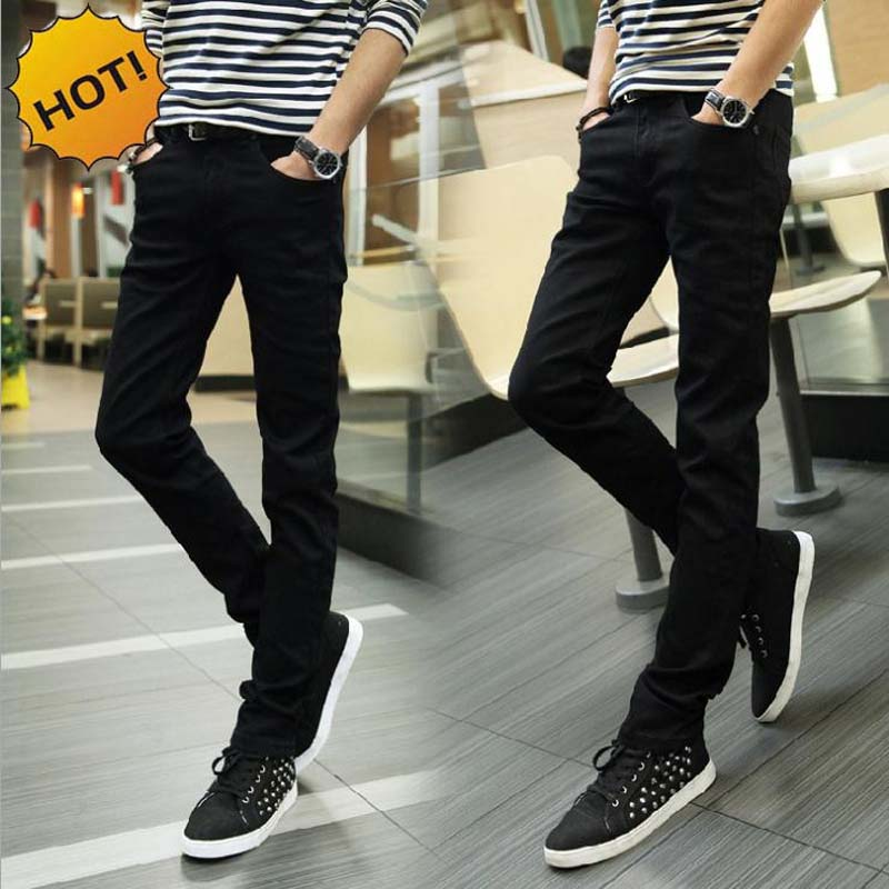 Fashion 2018 Indoor Casual Skinny Jeans Men Black Teenagers Pencil Pants Stretch Casual Leg Pants Boys Hip Hop Student Trousers ...