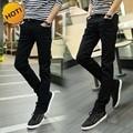 Moda 2016 de Interior Casual Skinny Jeans Hombres Adolescentes Negros Pantalones de Pierna Lápiz Pantalones Elásticos Ocasionales Chicos Hip Hop Pantalones Estudiantiles