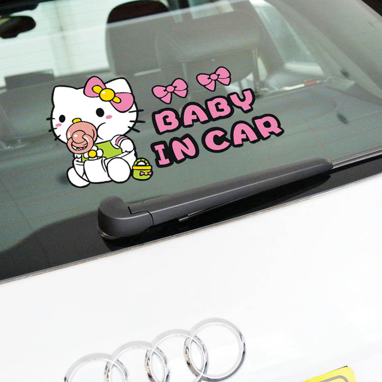 Hello Kitty Car Stickers Baby In Car Cute Lovely Cartoon Colorful Decals Auto Tuning Styling Waterproof 19*11cm D10 car accessories hello kitty cartoon car stickers warning with children kt133 free shipping