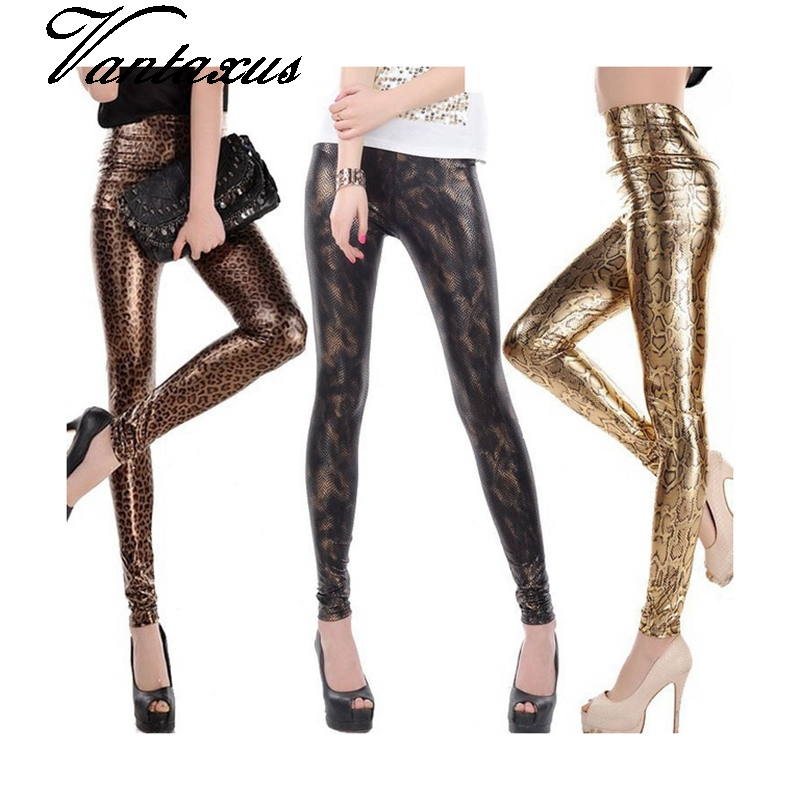 Lady fashion slim leggings High Waist Skinny legging women black gold snake printed pant small size faux leather pants