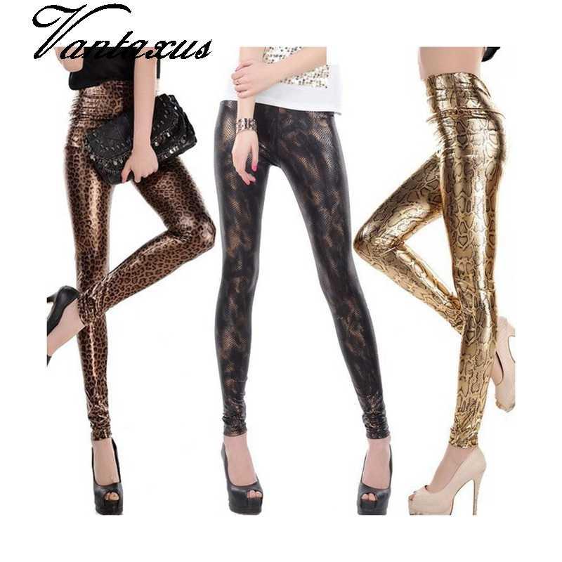 Lady moda slim leggings Cintura Alta Skinny legging mulheres black gold cobra impresso calça tamanho pequeno calças de couro falso