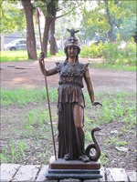 Бесплатная 28 Греческий миф Бронзовый арт статуя воин королева войны Богиня Афина Лев и змея быстро
