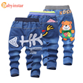Babyinstar 2017 New Children Jeans Cute Cartoon Bear Pattern Kids Trousers Outerwear Baby Bottoms Leisure Boys Denim Pants