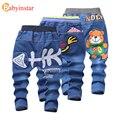 Babyinstar 2017 Novas Crianças Calças de Brim Bonito Padrão Urso Dos Desenhos Animados Crianças Calças Outerwear Bebê Bottoms Lazer Meninos Calças Jeans