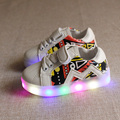 Kids shoes with light 2016 new Fashion casual shoes boys sports girls pu flats children shoes spring light up shoes for kids