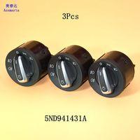 3 Pcs OEM Chrome European Headlight Control Switch For VW Jetta 5 6 Golf 5 6