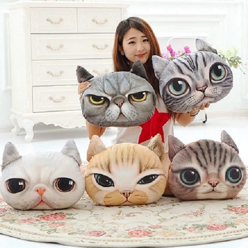 40cm * 38cm Jauns 3D kaķu emocijs Spilvens spilvens Personība Auto spilvens Creative Cat forma Nap smiley sejas spilvens Cute seat coussin