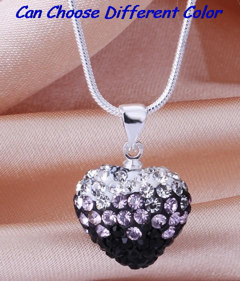 16 inch snake wedding black white mix Drop Fashion Silver Plated Gradient Heart Necklace Pendant crystal shamballa crystal