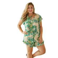 WHZHM Summer Plus Size 3XL 4XL Lacing Flower Sets Women Short Flare Sleeve Two Pieces V-Neck Beach Floral Tops and Short Pants